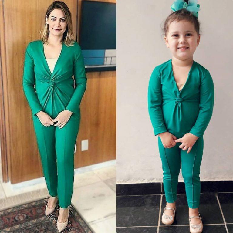 Menina faz sucesso ao usar vestido igual ao de Michelle Bolsonaro