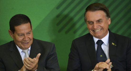 Vice-presidente Hamilton Mourão e o presidente Jair Bolsonaro