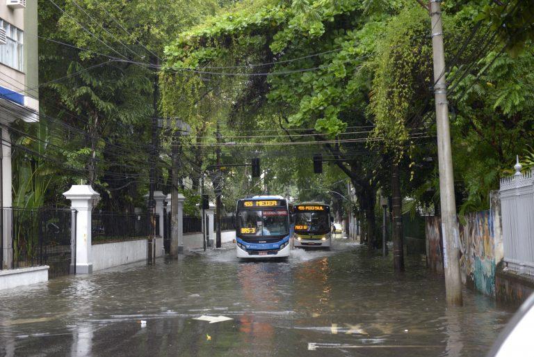 Ruas alagadas na região da Tijuca, Zona Norte do Rio de Janeiro