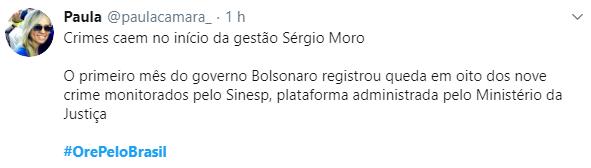 Internautas sobem a tag #OrePeloBrasil em prol de Bolsonaro e da nação
