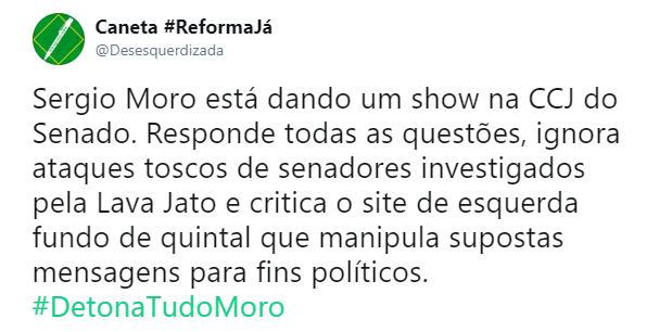 Desempenho de Moro no Senado empolga redes sociais