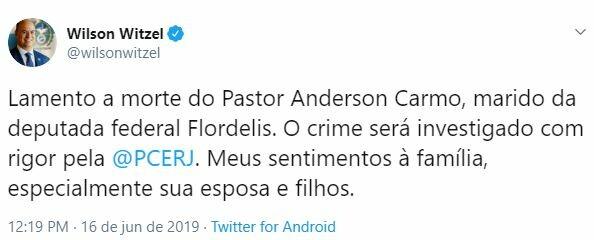 Políticos lamentam a morte do pastor Anderson do Carmo