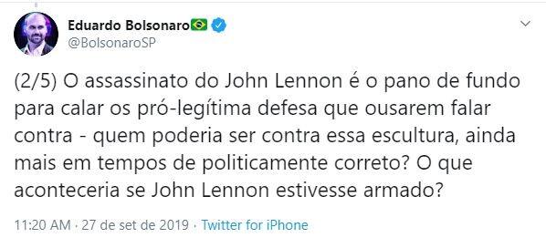 Eduardo Bolsonaro critica postura da ONU sobre questão armamentista