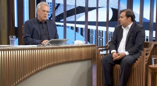 Pedro Bial e o presidente da Câmara dos Deputados, Rodrigo Maia