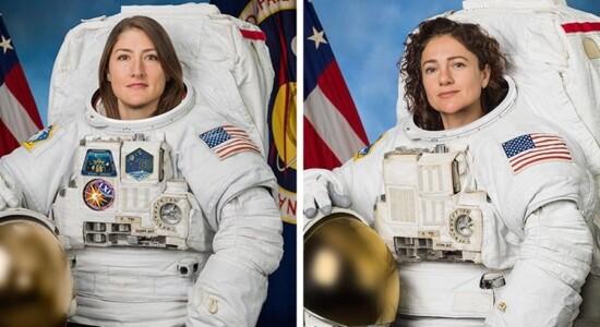 Astronautas fazem 1ª missão espacial 100% feminina