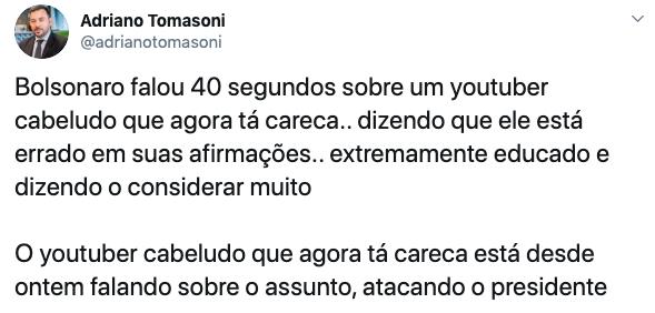 Eleitores demonstraram apoio a Bolsonaro no Twitter