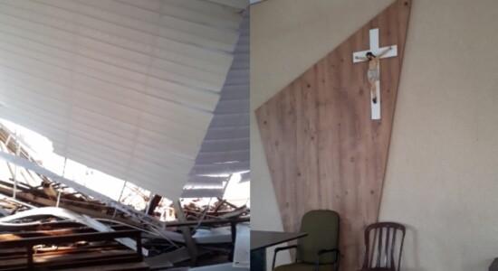 Telhado de igreja caiu