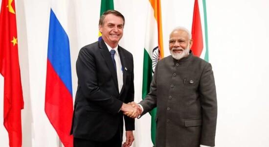 Jair Bolsonaro e o primeiro- ministro da Índia, Narenda Modi