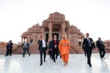 Presidente Jair Bolsonaro visitou o Templo de Akshardham, na Índia