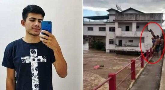 Jovem é encontrado morto após pular em rio durante enchente