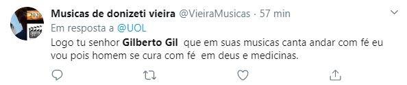 Internautas criticaram fala de Gilberto Gil
