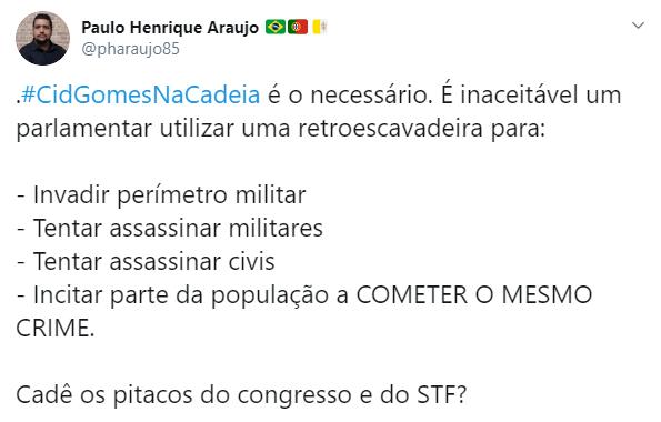 Senador Cid Gomes foi alvo de boletim de ocorrência. Internet pede a prisão do parlamentar