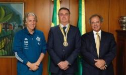 Técnico Jorge Jesus, presidente Jair Bolsonaro e ministro Paulo Guedes